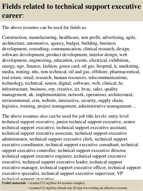 top 8 technical support executive resume sles
