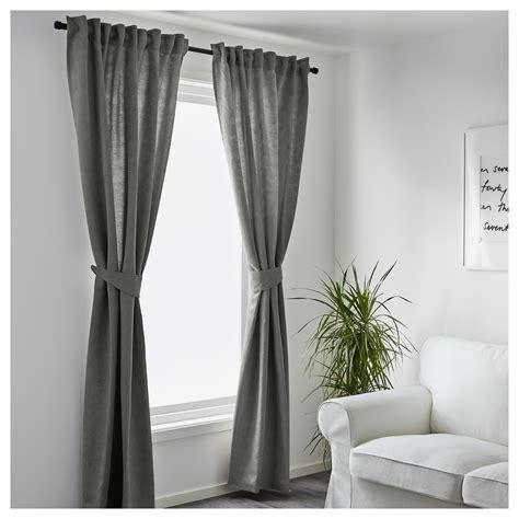 blekviva curtains with tie backs 1 pair grey 145x250 cm
