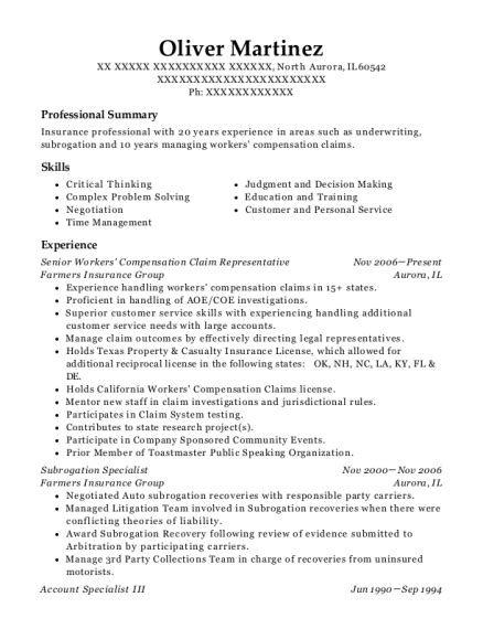See more of union insurance group on facebook. Mercury Insurance Company Subrogation Specialist Resume Sample - ResumeHelp