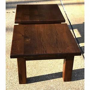20th, Century, Rustic, Solid, Wood, Block, Side, Tables
