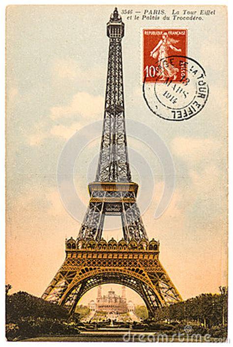 vintage postcard  eiffel tower  paris royalty