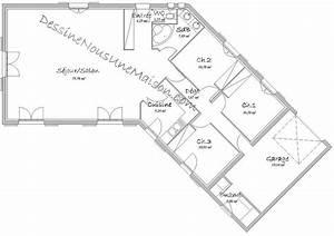 plans de maisons individuelles avec 3 chambres With plan maison en v plain pied gratuit
