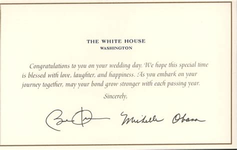 Wedding Card From The White House