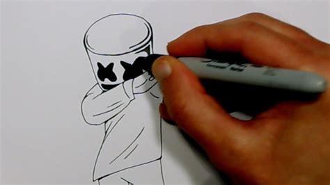 draw marshmello dabbing easy drawings  kids