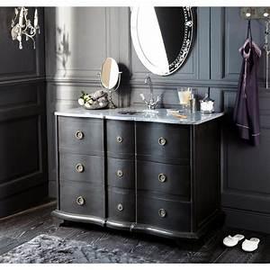 Meuble Salle De Bain Noir Et Bois : meuble vasque de salle de bain noir meuble vasque marbre noir et vasque ~ Teatrodelosmanantiales.com Idées de Décoration