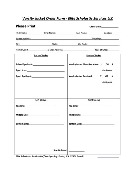 varsity jacket order form elite scholastic services llc