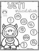 Yeti Articulation Speech Therapy Winter Teachers Worksheets Subject Printables sketch template
