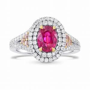 2.23Cts Ruby Gemstone Side Diamonds Engagement Halo Ring ...