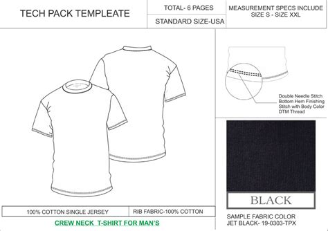 tech pack template tech pack template crew neck t shirt mens usa regular size