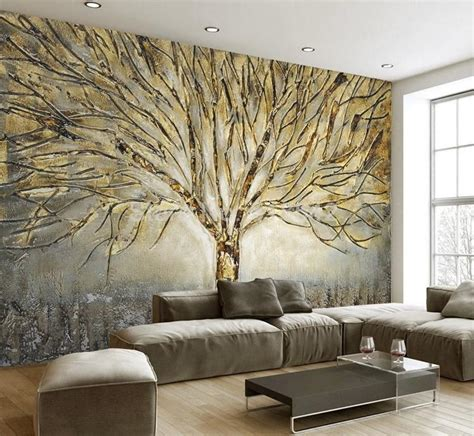 golden tree abstract design wallpaper mural  home