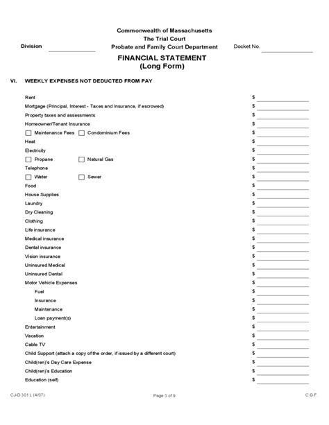 c j financial forms financial statement long form massachusetts free download