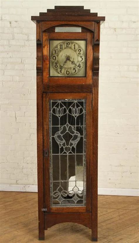 Decorative wall clock sweep movements high quality and competitve price client's log can be printed. An oak and leaded stained glass ... $500 starting bid ...