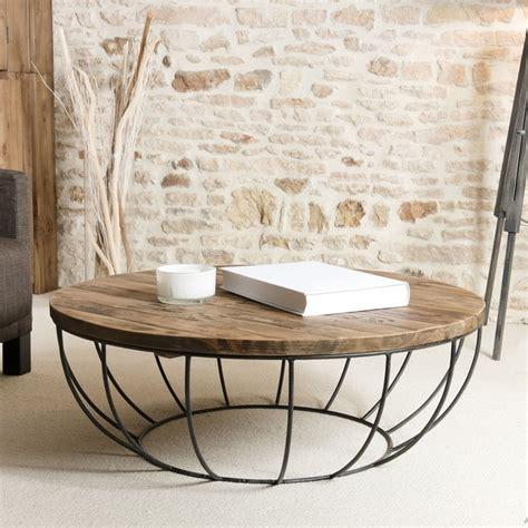 table basse ronde bois  metal noir cm tinesixe