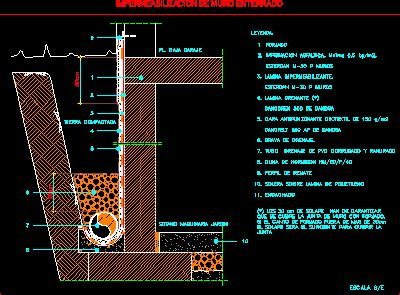 waterproof buried wall dwg detail  autocad designs cad