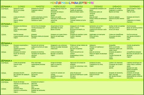 menu semanal  septiembre hijos  alimentacion
