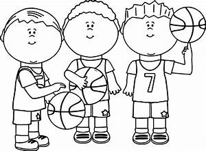 Friends Playing Basketball Coloring Page | Wecoloringpage