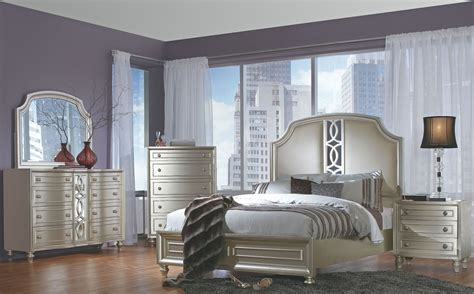 Silver Bedroom Furniture by Regency Park Pearlized Silver Panel Bedroom Set B00481 5h