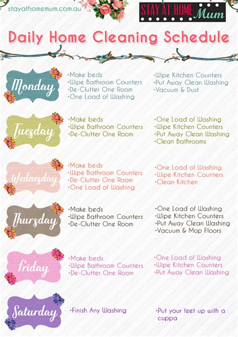 daily home cleaning schedule stay  home mum