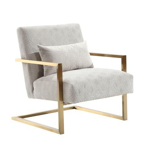 Armen Living Skyline Modern Accent Chair In Cream Chenille