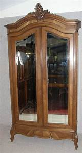 French Louis XV Style Walnut 2 Mirrored Armoire Antiques