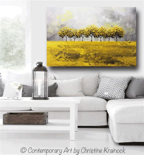 Yellow And Gray Wall Decor by Print Abstract Painting Yellow Grey Trees Wall Decor