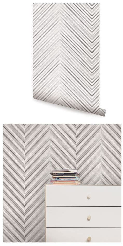 chevron lines gray peel  stick wallpaper