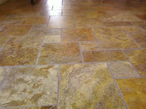 Scabos Travertine Floor Tile by Scabos Brushed Chiseled Edger Versailles Pattern