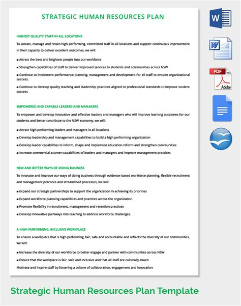 Hr Strategic Planning Template by Hr Strategy Template 39 Word Pdf Documents