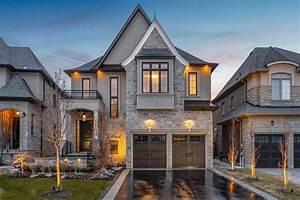 beautiful, classic, style, suburban, home, with, stone, fa, u00e7ade
