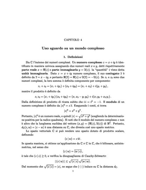 dispense analisi matematica numeri complessi dispense