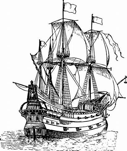 Pirate Ship Drawing Sailing Galleon Boat Clip