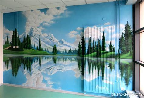 fresques murales trompe loeil de grands espaces