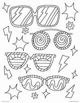 Coloring Sunglasses Sheets Colouring Printable sketch template