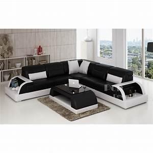 Canapé D Angle Cuir Blanc : photos canap d 39 angle cuir blanc et noir ~ Melissatoandfro.com Idées de Décoration