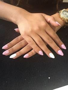 Baby pink and white acrylic nails - fmag.com