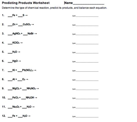 Predicting Chemical Reactions Worksheet Switchconf