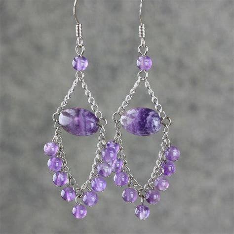 handmade chandelier earrings amethyst dangling chandelier earrings by annidesignsllc on