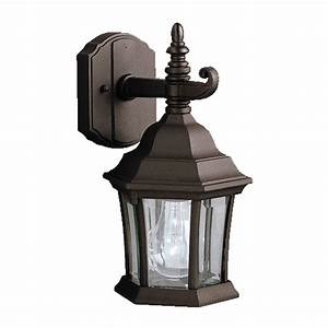 Shop kichler townhouse 1175 in h black outdoor wall light for Outdoor house lights at lowes