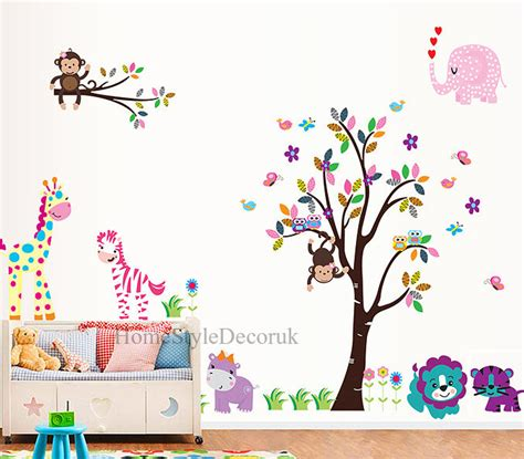 Animal Wallpaper For Childrens Bedroom - jungle zoo animals tree wall stickers nursery decals