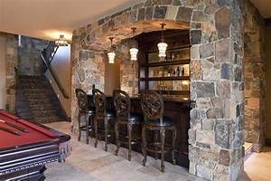Stone bar designs basement contemporary with oak cabinets