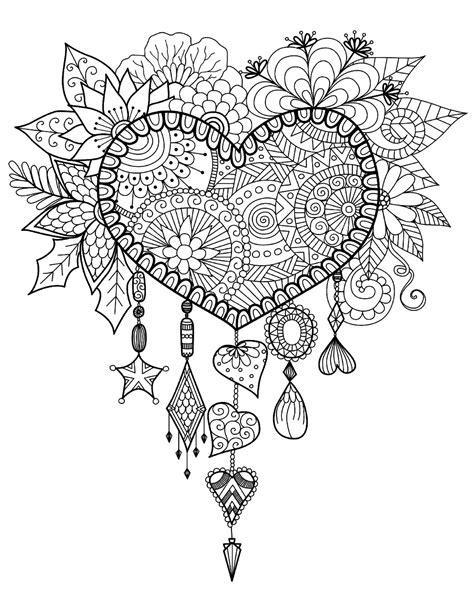 heart dreamcatcher zen  anti stress coloring pages