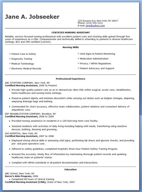 Entry Level Certified Nursing Assistant Resume by Free Sle Certified Nursing Assistant Resume Creative