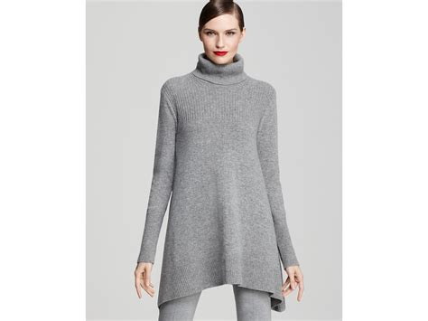 Donna Karan Trapeze Turtleneck Tunic And Seamed Leggings In Gray