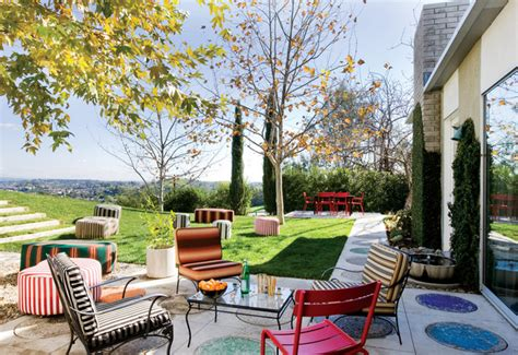 colorful outdoor furniture eclectic patio san