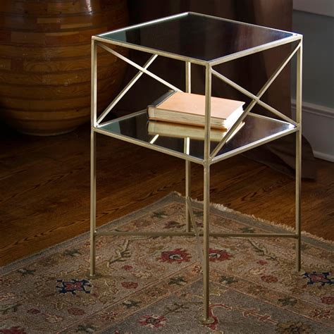 square brass side table brass plated iron and glass square side table