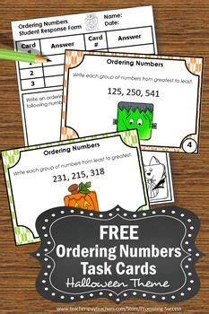 halloween math task cards ordering numbers