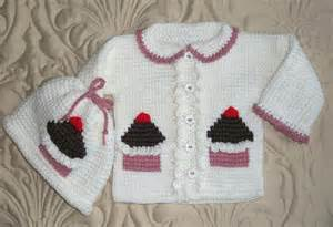 Baby Girl Sweater Set Cupcakes 12 Months Tunisian Stitch Instant Downloadable PDF Pattern