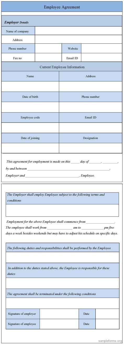 employee agreement form agreement format agreement format