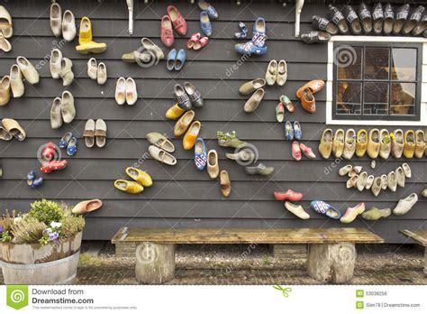 dutch wooden shoes   wall stock photo image