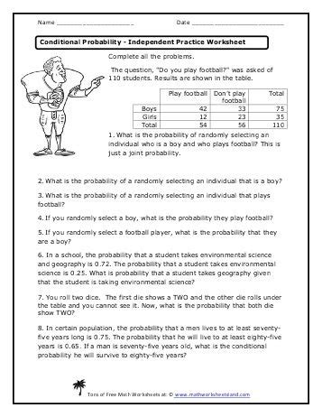 conditional probability independent practice worksheet